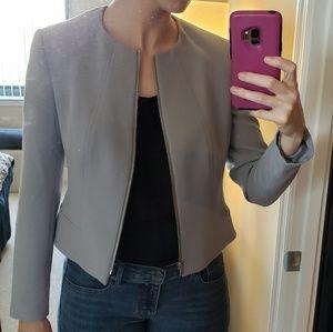Anne Klein Gray Collarless Zip-Front Jacket